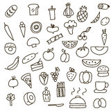 Symboler av frukter, grönsaker och mat som en dragen hand klottrar i stil också vektor för coreldrawillustration Royaltyfri Bild