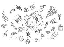 Symboler av frukter, grönsaker och mat som en dragen hand klottrar i stil också vektor för coreldrawillustration Royaltyfria Foton