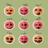 Symboler av grönsaker och frukt halloween pumpa Plana Vect Royaltyfri Bild