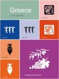 Symboler av Grekland stock illustrationer