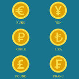Symboler av guld- mynt med bilder av valutor av olika länder Arkivfoton