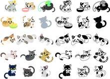 Symboler av gulliga katter Royaltyfri Foto