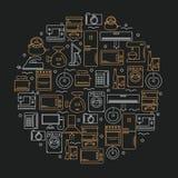 Symboler av hem- anordningar som förläggas i en cirkel Symboler av hem- anordningar på en mörk bakgrund också vektor för coreldra fotografering för bildbyråer