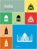 Symboler av Indien stock illustrationer
