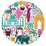 Symboler av Indien i form av en cirkel royaltyfri illustrationer