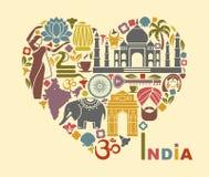 Symboler av Indien i form av hjärta vektor illustrationer