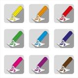 Symboler av kulöra blyertspennor med skuggor, blyertspennor för mång--färgade teckningar royaltyfri illustrationer
