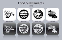 Symboler av mat och restauranger vektor illustrationer