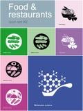 Symboler av mat och restauranger stock illustrationer
