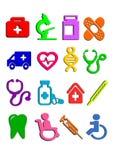 Symboler av medicin, vetenskap Vektor Illustrationer