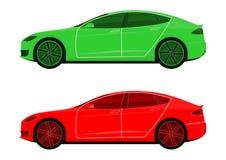 Symboler av moderna bilar royaltyfri illustrationer