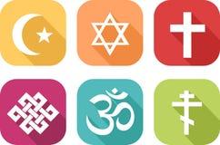 Symboler av olika religioner stock illustrationer