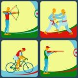 Symboler av olika sportar Bågskytte skytte för luftgevär, judo som cyklar Arkivbilder