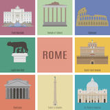 Symboler av Rome stock illustrationer