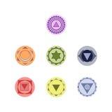 Symboler av sju chakras Arkivbild