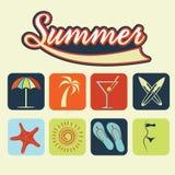 symboler av sommardrinken stock illustrationer
