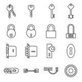 Symboler av tangenter och lås som isoleras på en vit bakgrund stock illustrationer