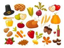Symboler av thanksgiging dag- och familjtraditionsbeståndsdelar för ferie planlägger på vit bakgrund retro royaltyfri illustrationer