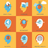 Symboler av tillstånd för mänsklig mening stock illustrationer