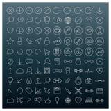 Symboler av tunna linjer, vektorillustration Royaltyfri Foto
