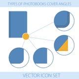 Symboler av typ vinklar för en photobooksräkning Stock Illustrationer