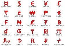 symboler av valutor Royaltyfria Foton