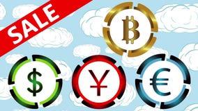Symboler av valutor, försäljning i moln vektor illustrationer