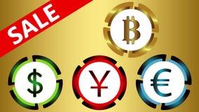 Symboler av valutor, försäljning på guld stock illustrationer
