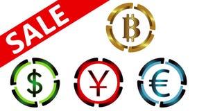 Symboler av valutor, försäljning på vit vektor illustrationer