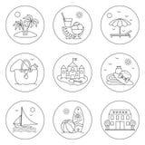 Symboler av vilar och havet Arkivbild