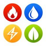 Symboler avfyrar, bevattnar, elektricitet och bladvektorn stock illustrationer