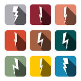 Symboler blixt, vektorillustration Arkivbilder
