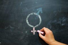 Symboler eller tecknet för mannen och kvinnligt för genus könsbestämmer utdraget på en svart tavla Royaltyfri Fotografi