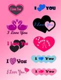Symboler etiketter, älskar jag dig Royaltyfri Illustrationer