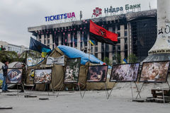 Symboler. Euromaidan Kyiv efter protest 10.04.2014 Arkivbild