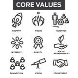 Symboler för översikt för företagskärnavärden för Websites eller Infographics Royaltyfri Bild