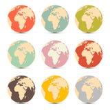 Symboler för översikt för jordvärldsjordklot Royaltyfri Foto