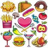 symboler för 1 mat stock illustrationer