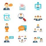 Symboler för affärskommunikation och rengöringsdukkonferens Arkivfoto