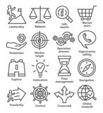 Symboler för affärsledning i linjen stil Packe 13 vektor illustrationer