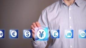 Symboler för affärsmanhandlagdollar stock video