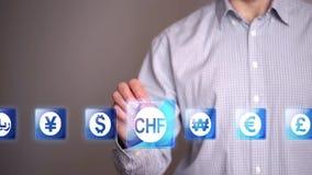 Symboler för affärsmanhandlagschweizisk franc stock video