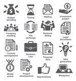 Symboler för affärsprojektplanläggning royaltyfri illustrationer