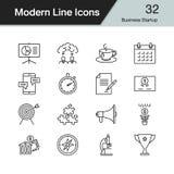 Symboler för affärsstart Modern linje designuppsättning 32 För presentat Arkivfoto