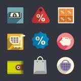 Symboler för affärstemalägenhet vektor illustrationer