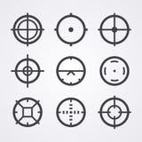 Symboler för AIM crosshairuppsättning Arkivfoto