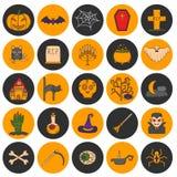 Symboler för allhelgonaafton för vektortecknad film hand drog Arkivfoto