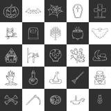 Symboler för allhelgonaafton för vektortecknad film hand drog Royaltyfria Foton
