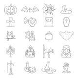 Symboler för allhelgonaafton för vektortecknad film hand drog Arkivbild