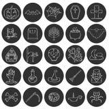 Symboler för allhelgonaafton för vektortecknad film hand drog Royaltyfria Bilder